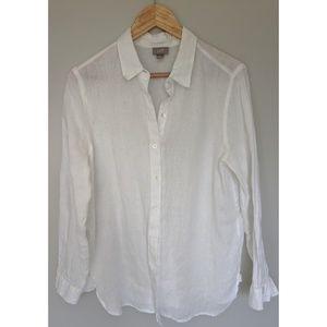 J. Jill 100% Linen White Button Down Blouse - M